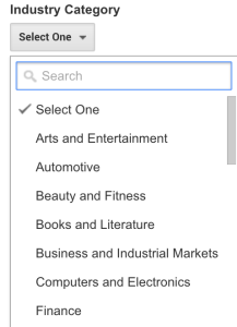google-analytics-industry-category